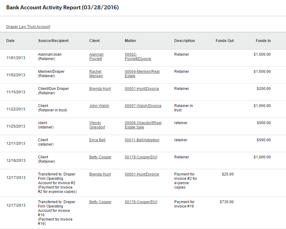 Bank Account Activity Report – Clio Support