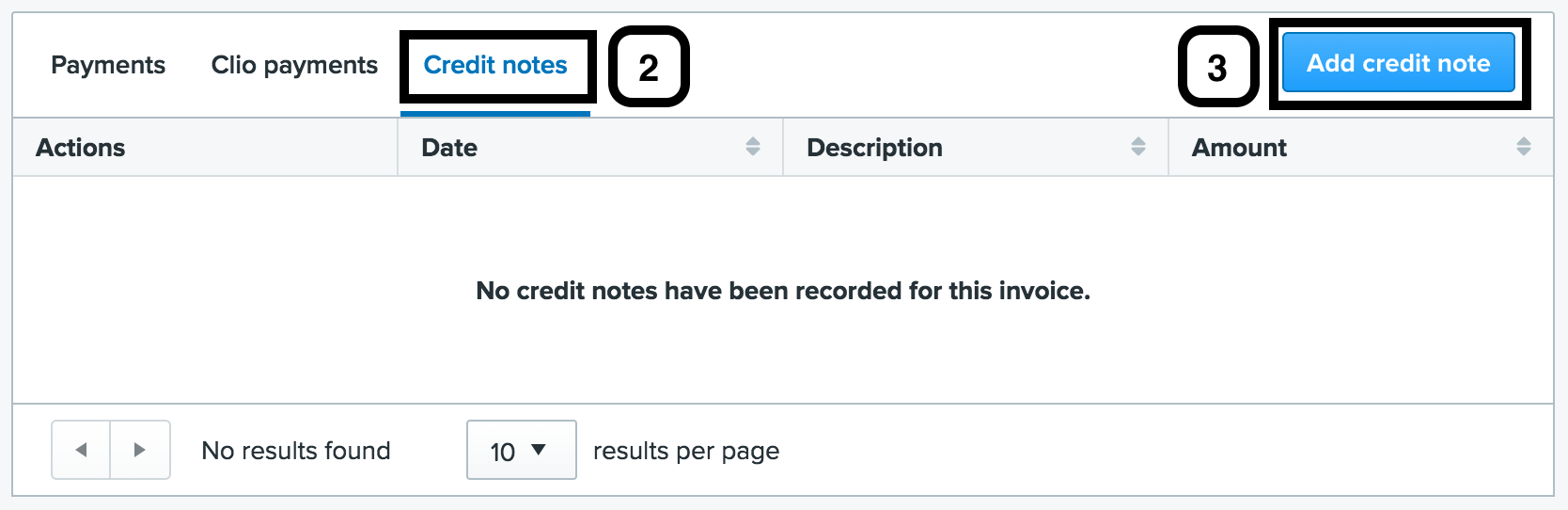 Applying write offs and credit notes in the new clio experience click add credit note addcreditnotetabg altavistaventures Images
