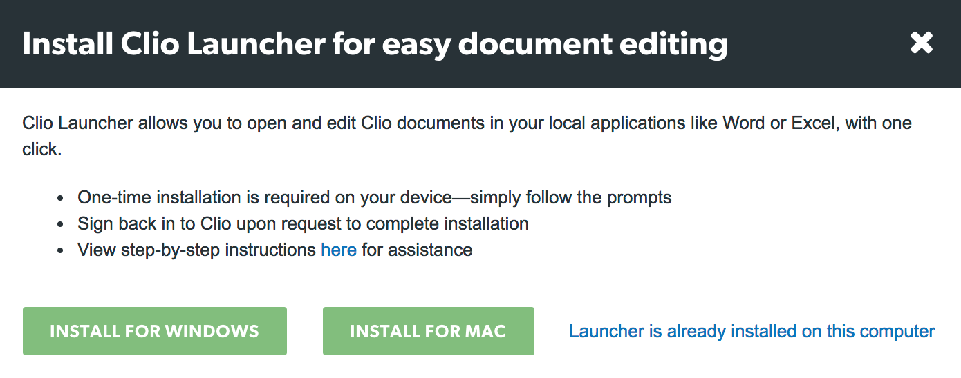 Clio Launcher: Installation and Use Guide – Clio Help Center