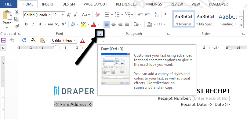 how to use font options in microsoft word 2016