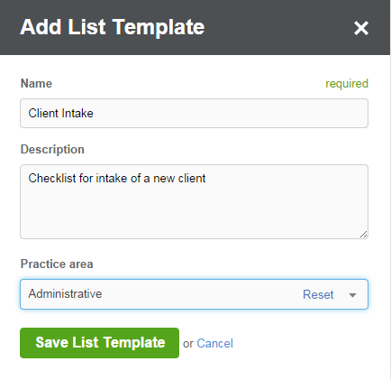 task lists creating and managing templates clio help center