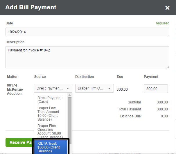 How to apply an overpayment to a bill clio support for How to bill a client