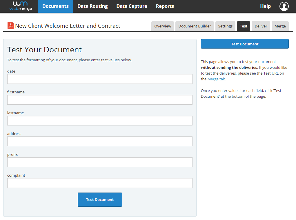 WebMerge Clio Support – Delivery Document Template
