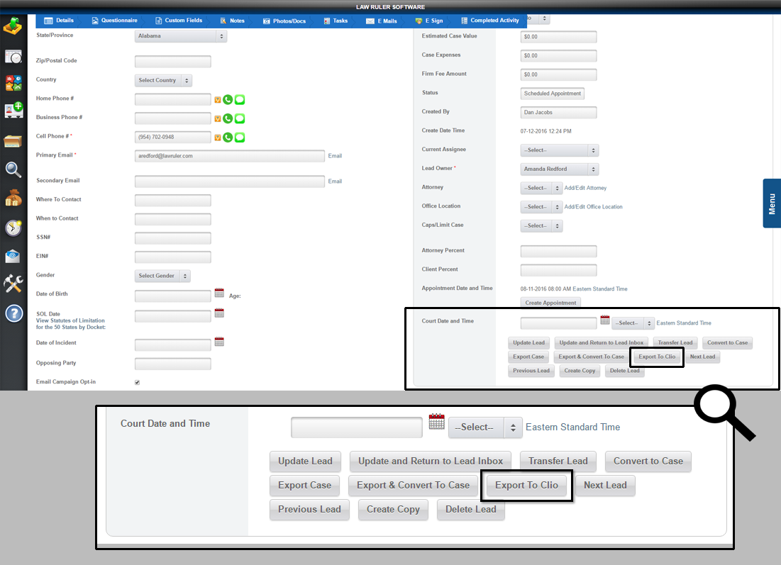 using1 Law Ruler Legal CRM and Clio Practice Management